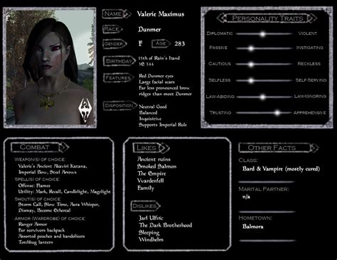 valerie skyrim character sheet by demicus maximus on