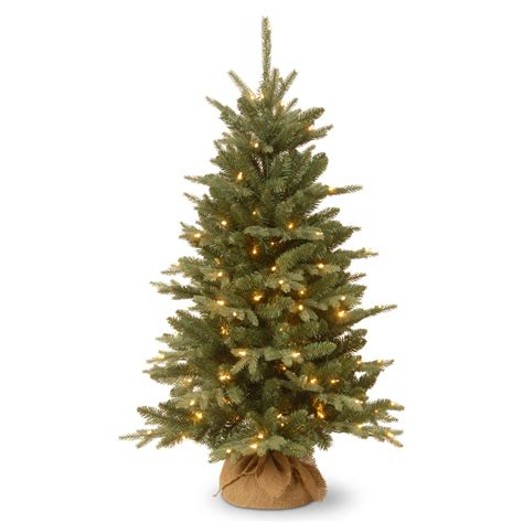 4 ft feel real burlap pre lit full christmas tree