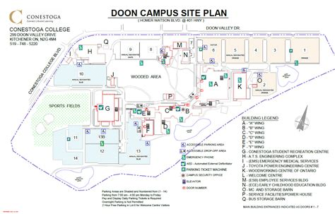 site planner parking lot maps conestoga college