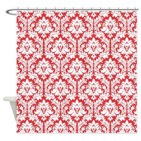 red damask shower curtain poppy red damask shower curtain by zandiepants