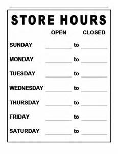 Business Hours Sign Template by Pin Store Hours Sign On