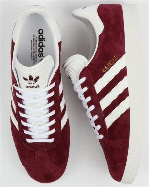 adidas gazelle trainers maroonwhiteoriginalsshoesmens