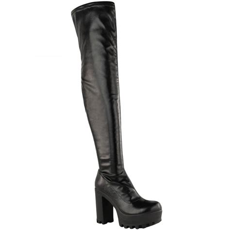 thigh high black leather high heel boots alysha black leather knee high block heel boots parisia