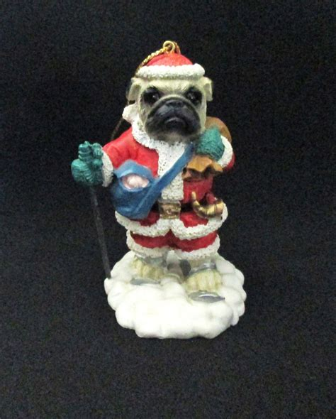 pug ornament resin pug skiing santa claus tree