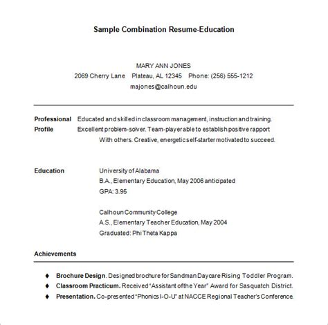 combination resume templates combination resume template 6 free sles exles