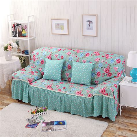floral couches cotton polyester modern plaid sofa towel flower floral