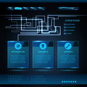 High Tech Powerpoint Templates by High Tech Blue Website Template Vector Vector Web Design