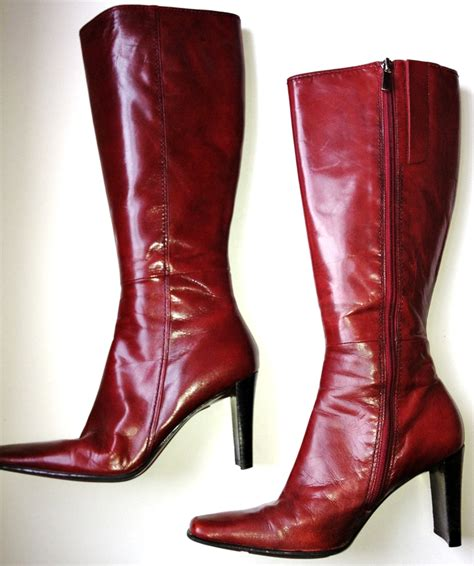 free shipping nine west leather knee high boots