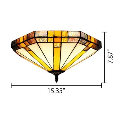 geometric flush mount light 16 inch geometric stained glass three light flush