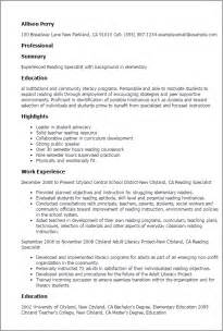 Peer Specialist Sle Resume by Professional Reading Specialist Templates To Showcase Your Talent Myperfectresume