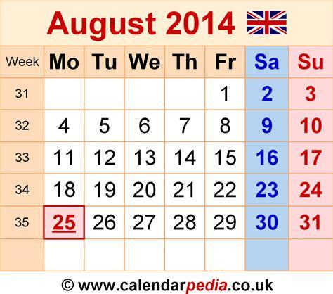 Aug 2014 Calendar Calendar August 2014 Uk Bank Holidays Excel Pdf Word