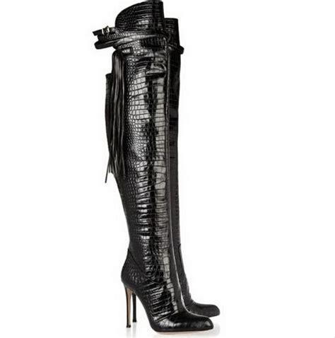 snakeskin the knee thigh high boots thuli nyc