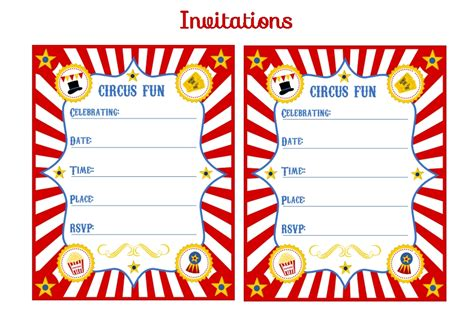 carnival themed invitations templates free free circus birthday printables from printabelle