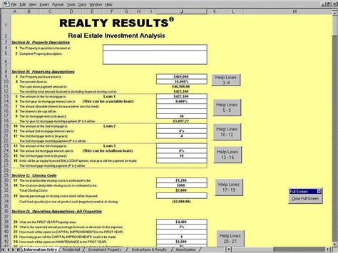 Real Estate Spreadsheets by Real Estate Investment Spreadsheet
