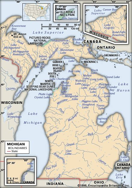 physical map of michigan michigan physical features encyclopedia