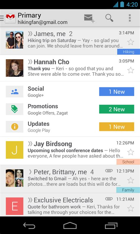gmail app for android gmail v4 5 for android starts rolling out apk