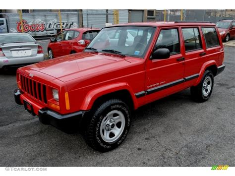 flame red jeep flame red 2001 jeep cherokee sport 4x4 exterior photo