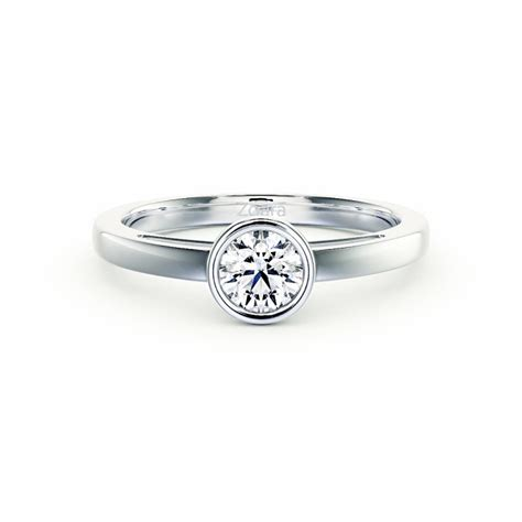 contemporary bezel set solitaire engagement ring in
