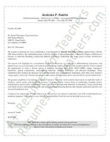 Cover Letter Exles Education by Special Education Cover Letter Sle