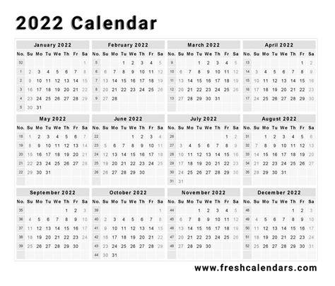 Calendar Format Printable Printable 2022 Calendar Templates And Images