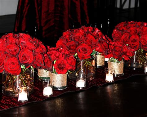 Tall Red Rose Wedding Centerpieces Bold Red Rose Roses Centerpiece