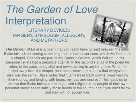 The Garden Analysis by William And His Poetry