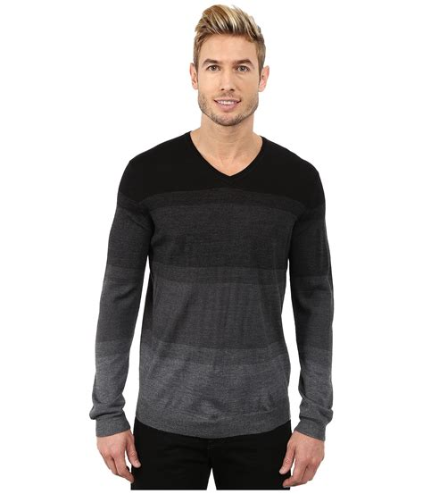 Sweater Ck T1310 3 calvin klein merino acrylic simple ombre striped v neck sweater in gray for lyst