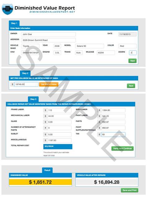 free diminished value calculator diminished value report diminished value reports and