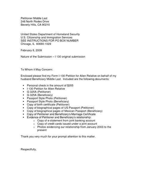 cover letter for i 130 petition i 130 sle cover letter the letter sle