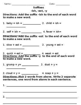 suffixes er, est, ly, ful, less, ish, y homework worksheet