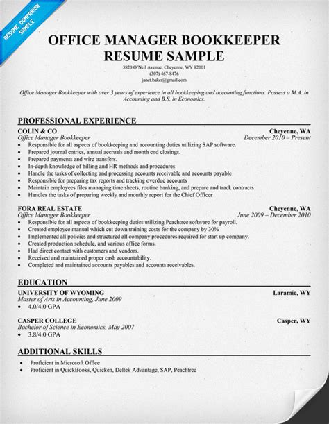 office manager bookkeeper resume sles across all industries resume exles