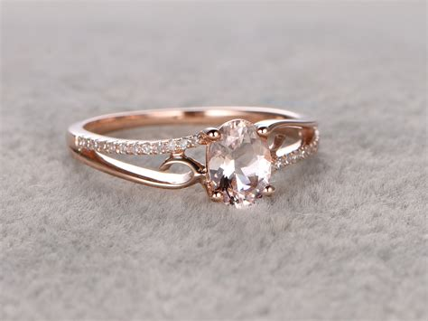 wedding ring simple 6x8mm oval morganite engagement ring wedding ring