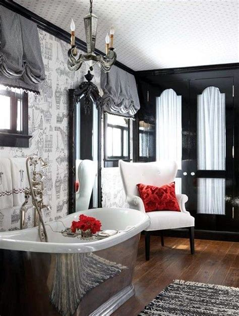 bathroom black red white: black and white and red bath home sweet home pinterest