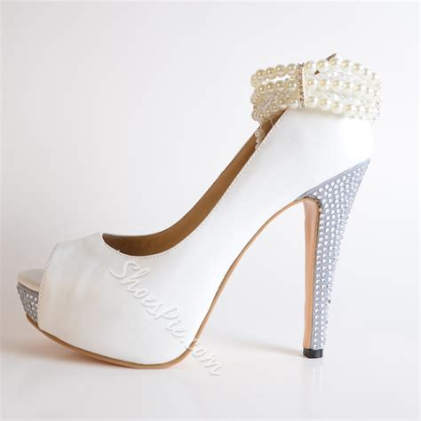 high heels with pearls white pearl ankle high stiletto heels shoespie