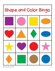 shapes and colors shapes and colors bingo cards 4x4 sallieborrink