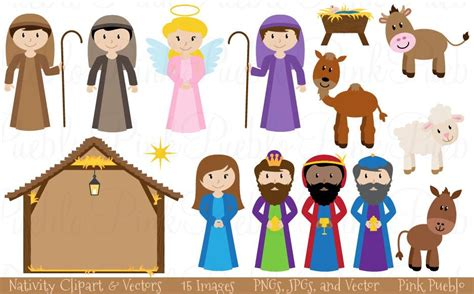printable nativity scene characters christmas nativity clipart vectors pinkpueblo