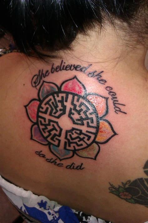 she believed she could tattoo the center is the labyrinth of birth the out side is a