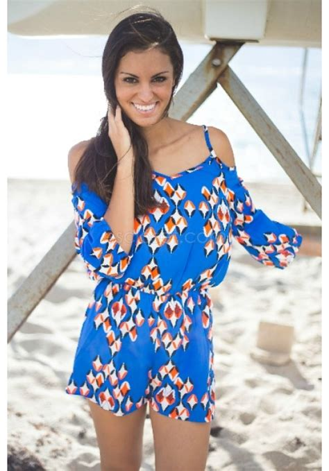 abstract pattern sequin playsuit blue romper with abstract pattern and cut out shoulders