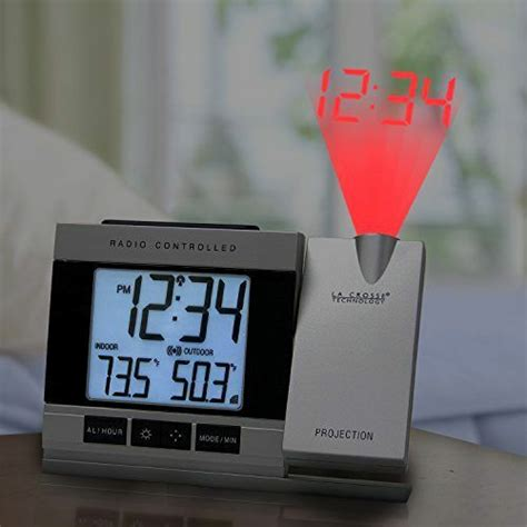 atomic alarm clock with indoor outdoor temperature projects in wall or ceiling ebay