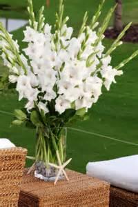 White gladiolus centerpiece elegant wedding pinterest
