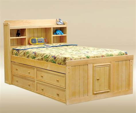 captains bed full size full size natural wood finish captains bed with storage