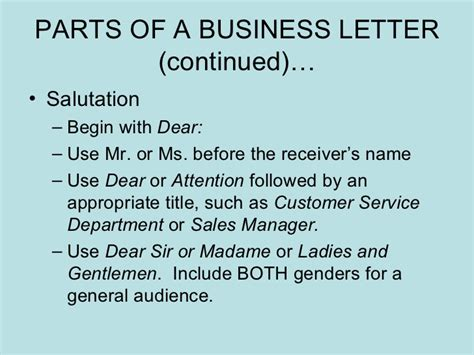 Optional Parts Of Business Letter Ppt parts of a business letter parts of a business letter