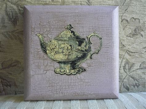 Decoupage Crackle - decoupage of teapot on waxed crackle glaze