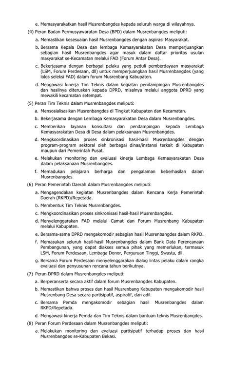 format usulan musrenbang desa berita daerah kabupaten bekasi tentang pedoman perencanaan