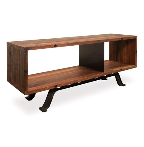 industrial media console barrow industrial reclaimed wood iron media console