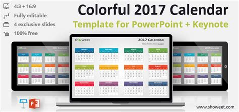 keynote calendar template colorful 2017 calendar for powerpoint and keynote