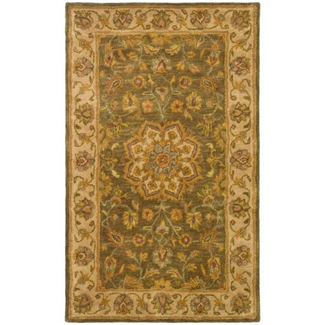 Safavieh Heritage Rug Safavieh Heritage Green Taupe 3 Ft X 5 Ft Area Rug Hg954a 3 The Home Depot