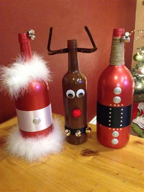 santa mrs claus rudolph wine bottle diy my diy