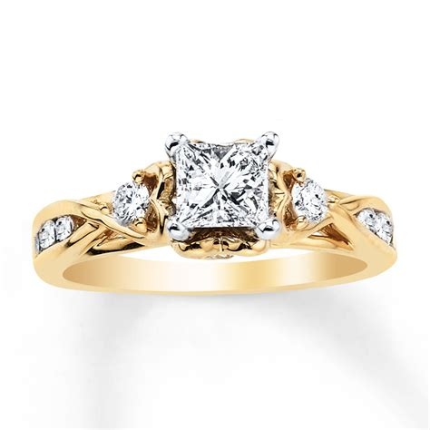 jared engagement ring 1 ct tw princess cut 14k