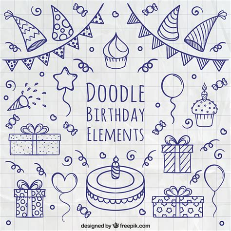 free doodle doodle birthday elements vector free